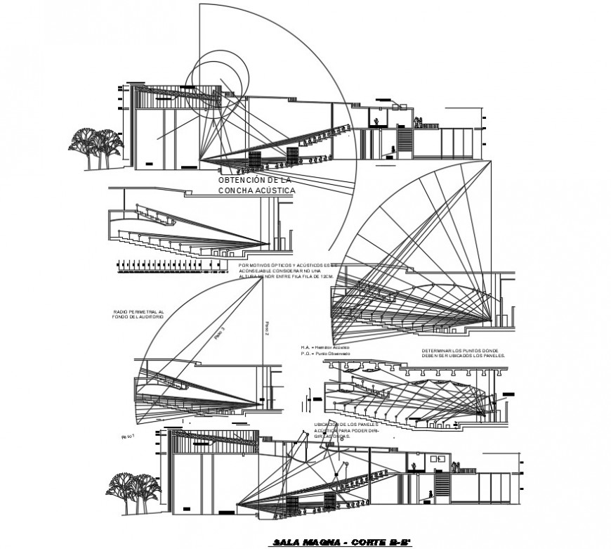 Sectional drawings details of auditorium building units dwg file
