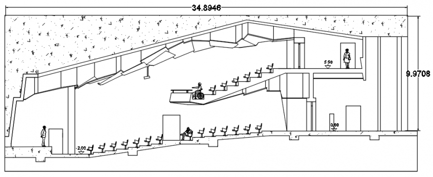 Sectional drawings details of auditorium hall 2d view dwg file