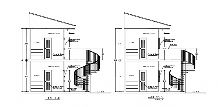 Sectional elevation drawings file