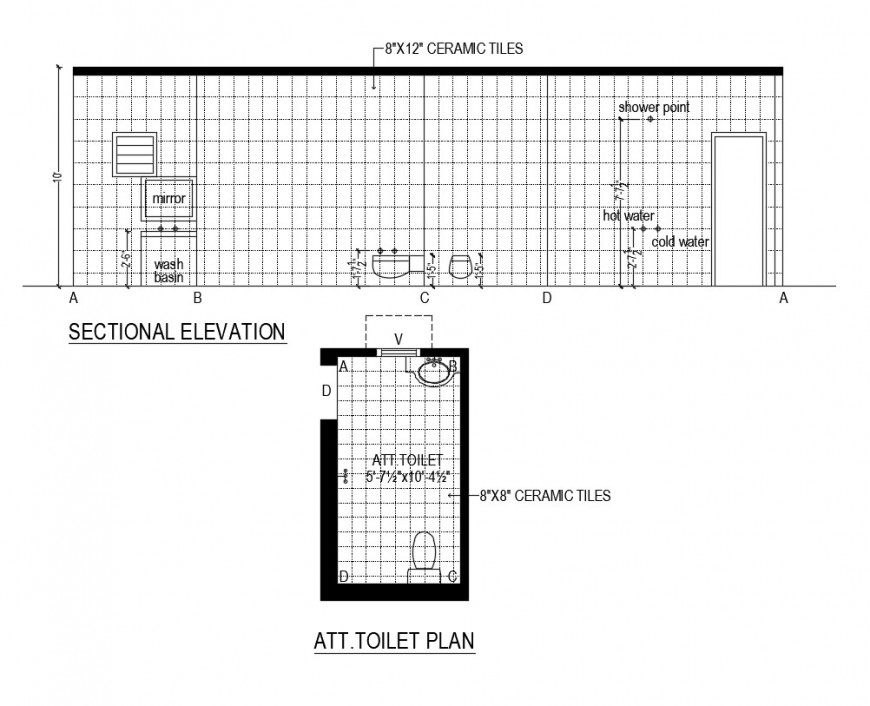 Sectional elevation of a bathroom and toilet interior detail dwg file