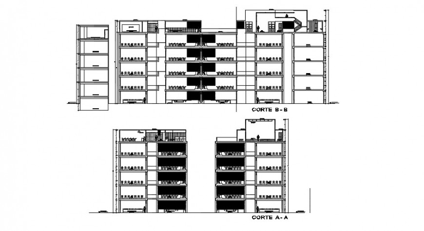 Sectional elevation of a building , high rise building dwg file