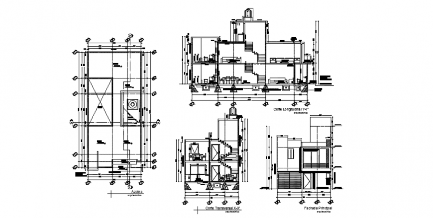 Sectional elevation of a building concept dwg file