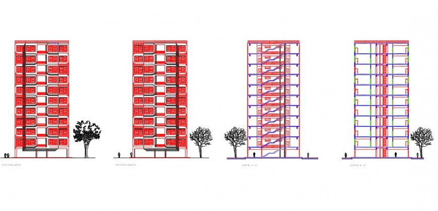 Sectional elevation of a high rise building dwg file