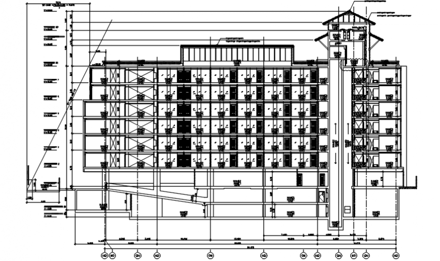 Sectional elevation of an hotel Autocad drawing