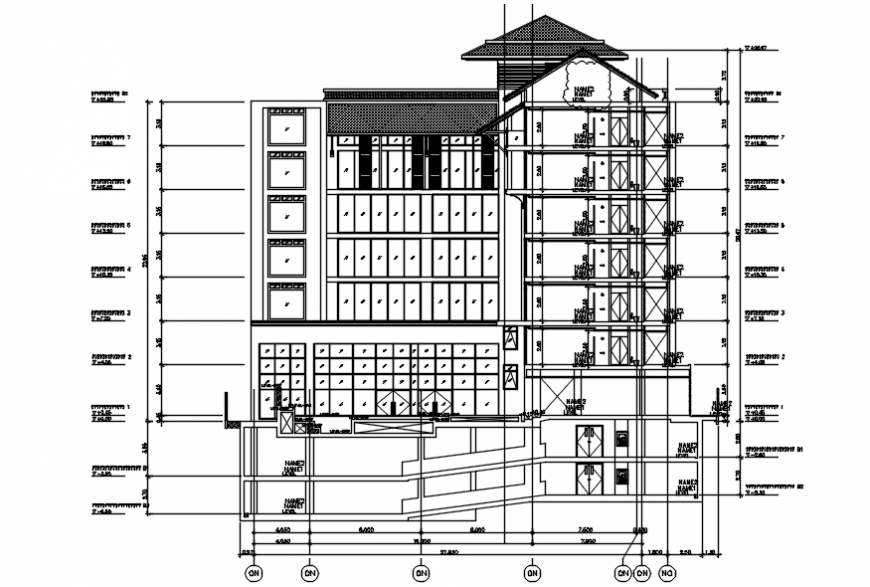 Sectional elevation of an hotel in autocad drawing
