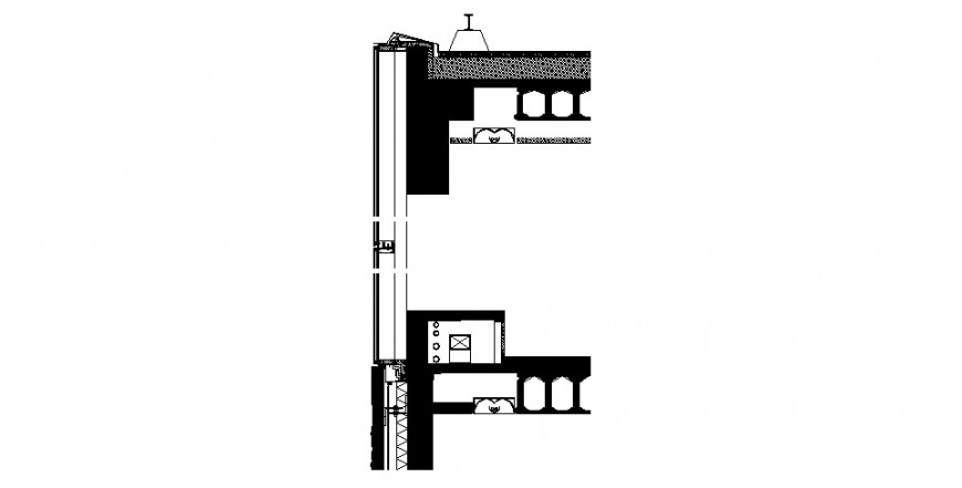 Sectional elevation of the window drawing in dwg AutoCAD file.