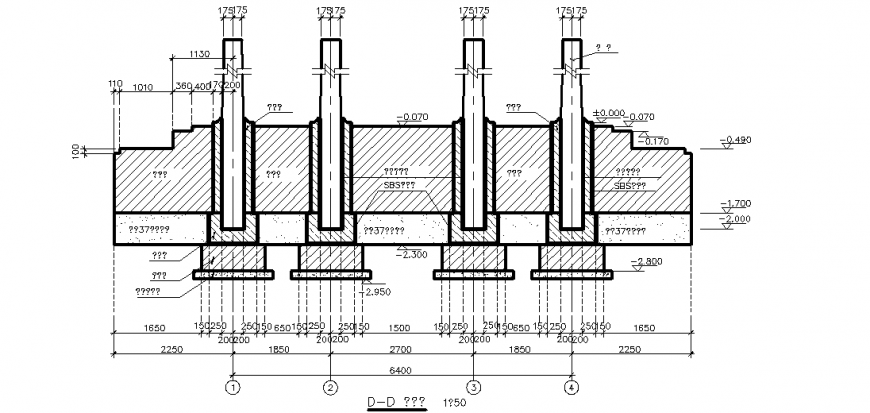 Sectional elevation with column view with base dwg file