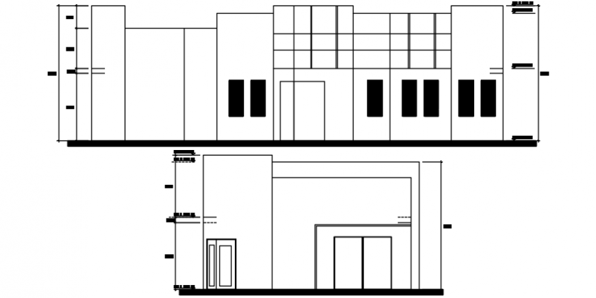 Sectional elevations of cafe building