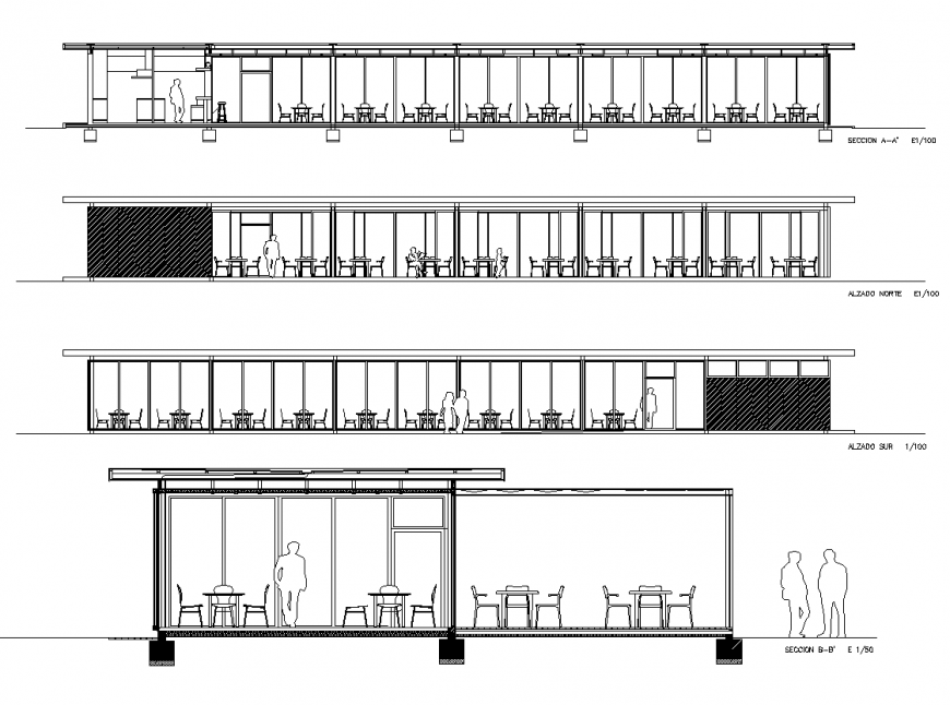 Sectional layout of the restaurant building 2d view autocad file