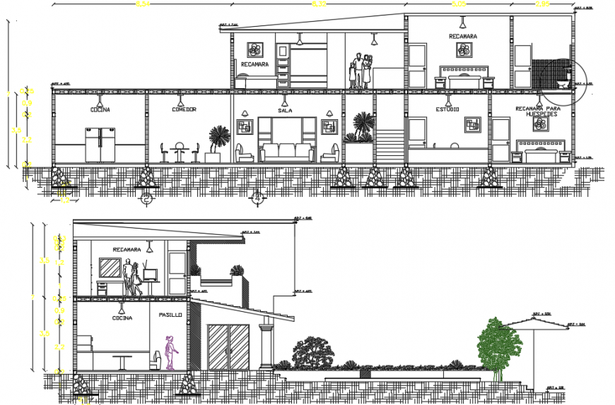 Sectional plan of residence project detail dwg file