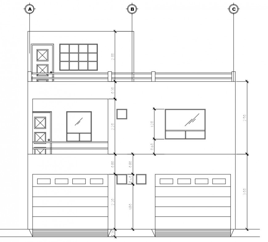 Sectional side elevation of a bungalow dwg file