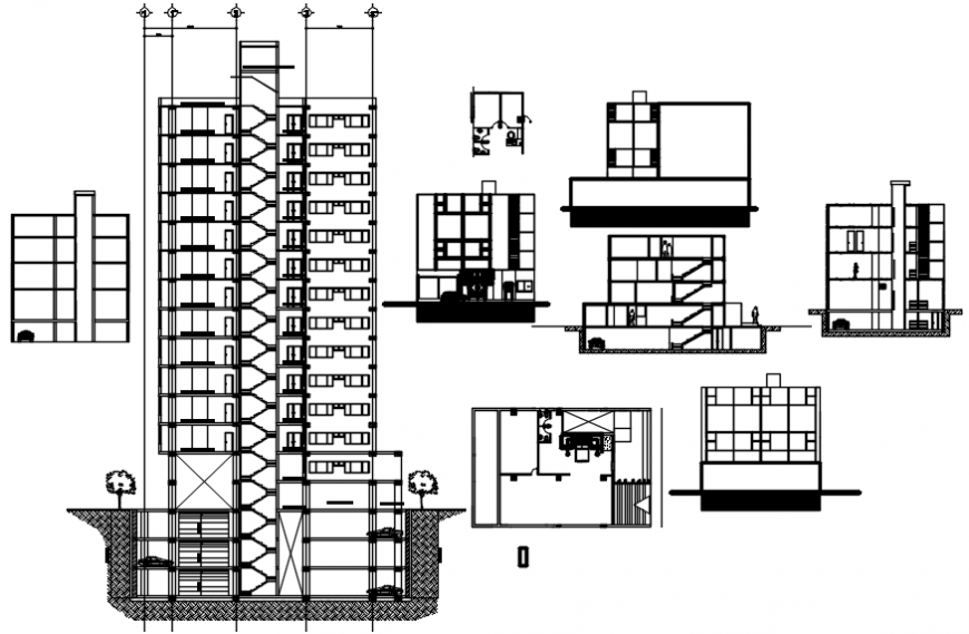 Sections of high rise building