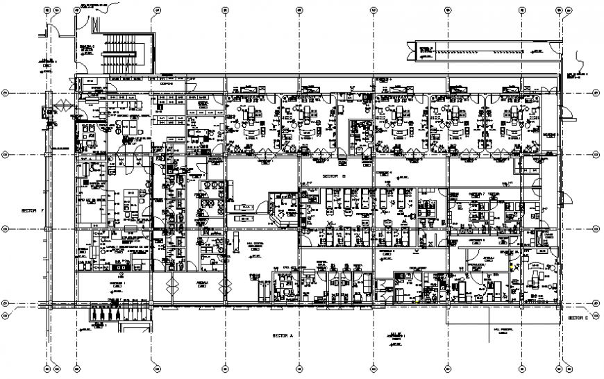 Sector-A first floor plan details of multi-specialty hospital dwg file
