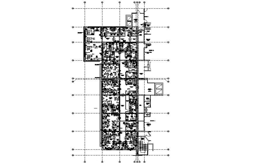 Sector-F fifth floor plan details of multi-specialty hospital dwg file