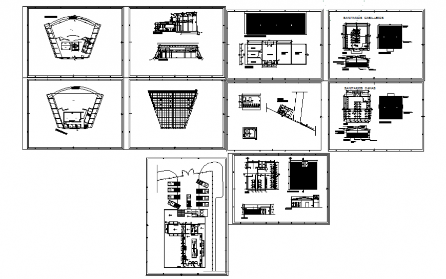 Sector office building section, floor plan, parking area, sanitary installation and auto-cad details dwg file