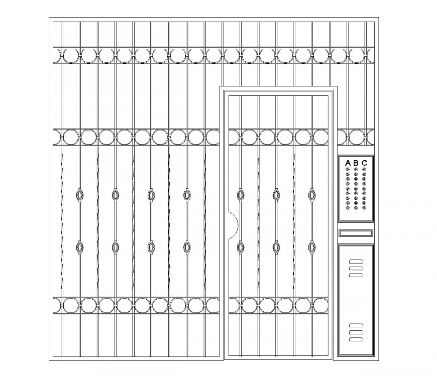 Security entrance gate with intercom dwg file