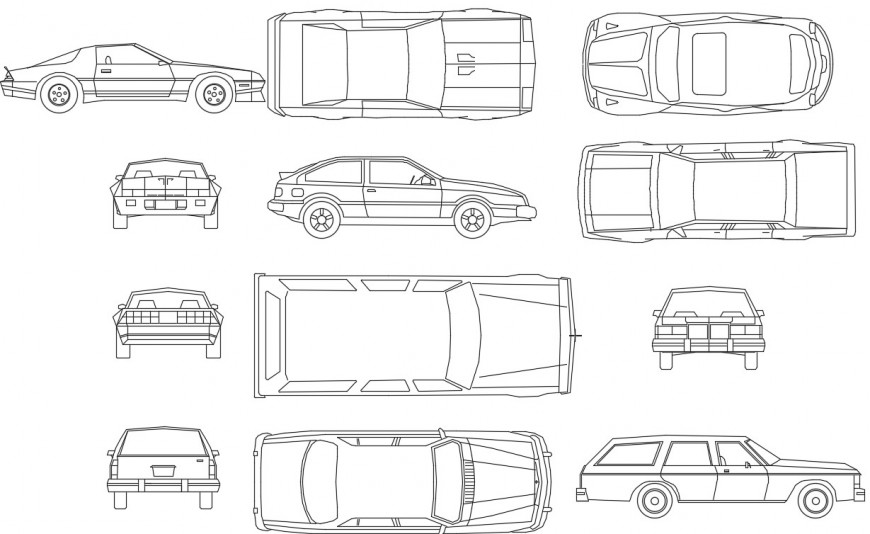 Sedan car sectional 2d block file
