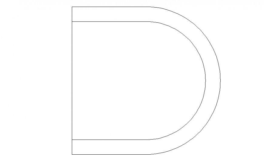 Semi-circular chair detail drawing in autocad