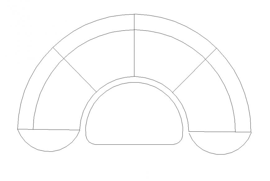 Semi-circular sofa elevation 2d view CAD furniture layout dwg file
