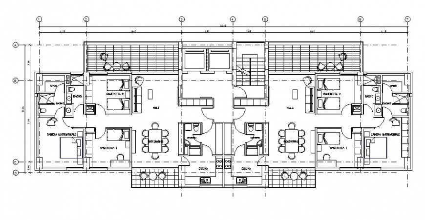 Semi-furnished house floor plan details 2d drawing in autocad software