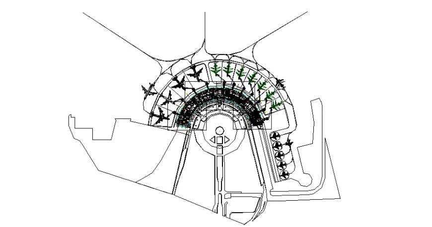 Semi circular Airport layout plan detail drawing in dwg AutoCAD file.