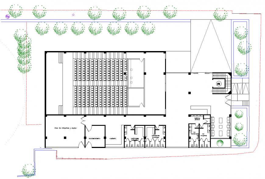 Seminar hall detail working plan in dwg file.