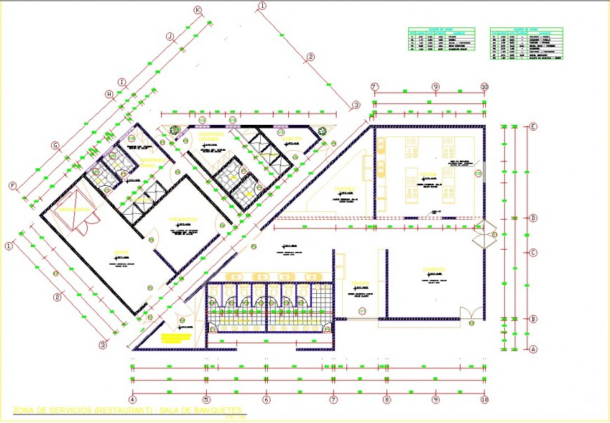 Services zone of restaurant drawing in dwg file.