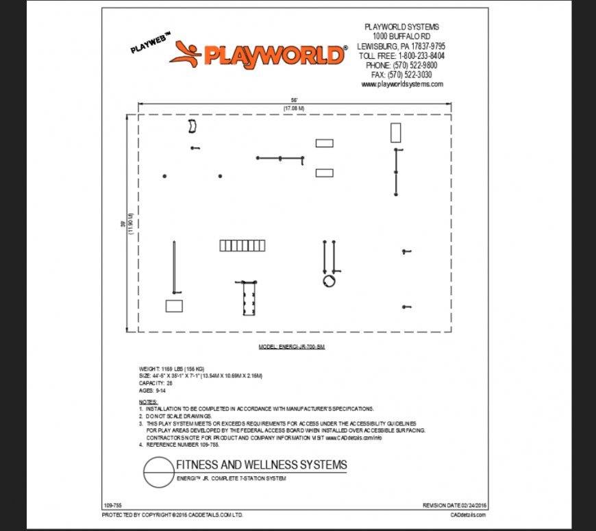 Seven station system details of play area play equipment of theme park dwg file