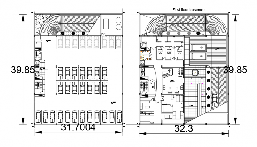 Seven story hospital basement and ground floor plan drawing details dwg file