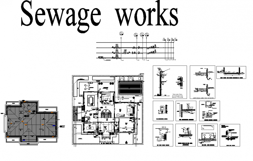 Sewage work office detail elevation and plan layout file