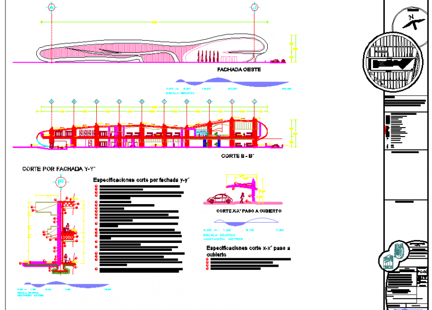 Shell structure shopping building in dwg file.