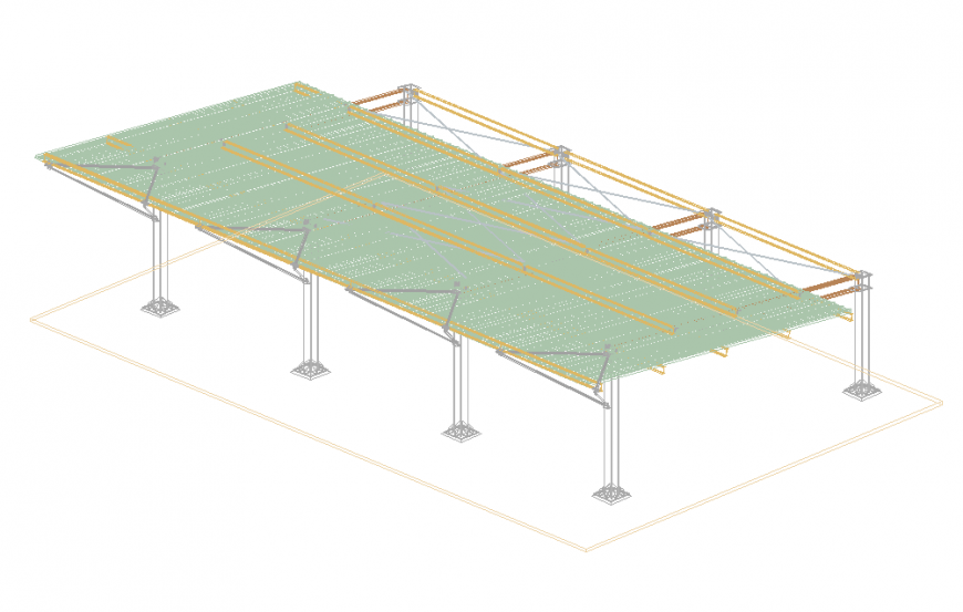 Shelter parking lots of house 3d drawing details dwg file