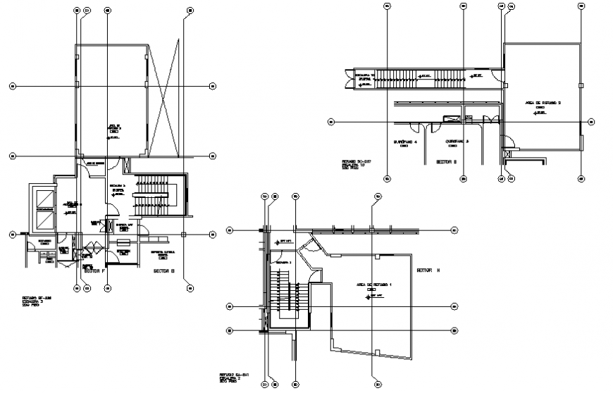 Shelters and roof-terrace plan details of multi-level hospital dwg file