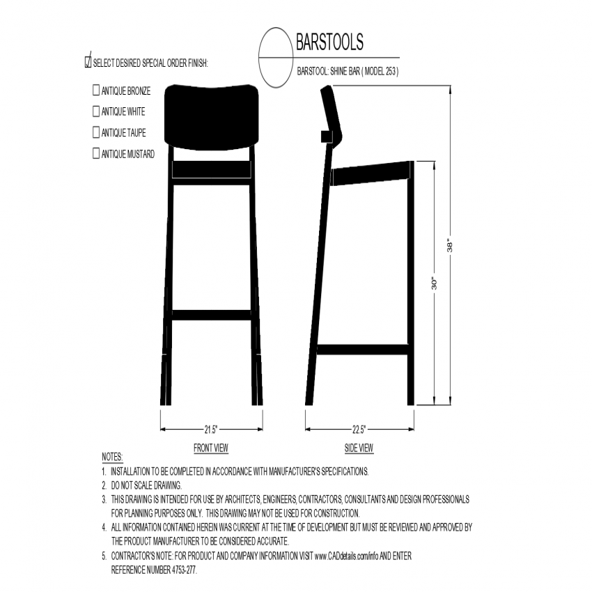 Shine bar chair model view with front and side view dwg file