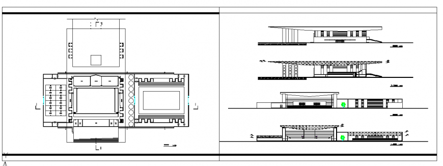 Shooping Center Architectural plan Lay-out & Elevation Detail