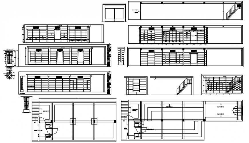 Shop all sided elevations and section cad drawing details dwg file