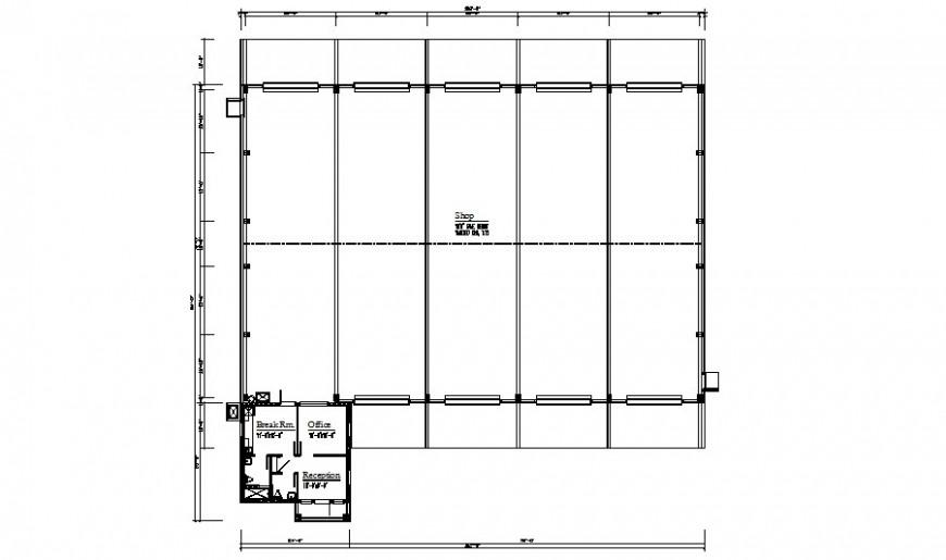 Shop building drawings details plan 2d view autocad file