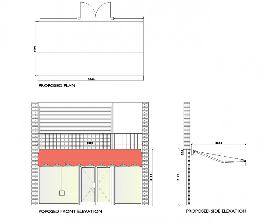 Shop front design dwg file