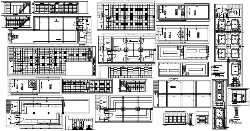 Shop sections, layout plan, electric installation and structure details dwg file