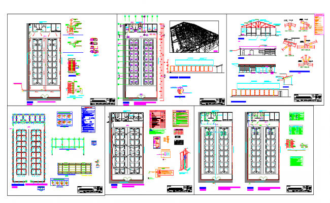 shopping mall plan elevation section & Architecture plan dwg