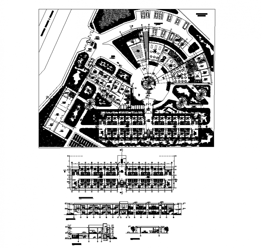 Shopping center building detail elevation and plan 2d view dwg file