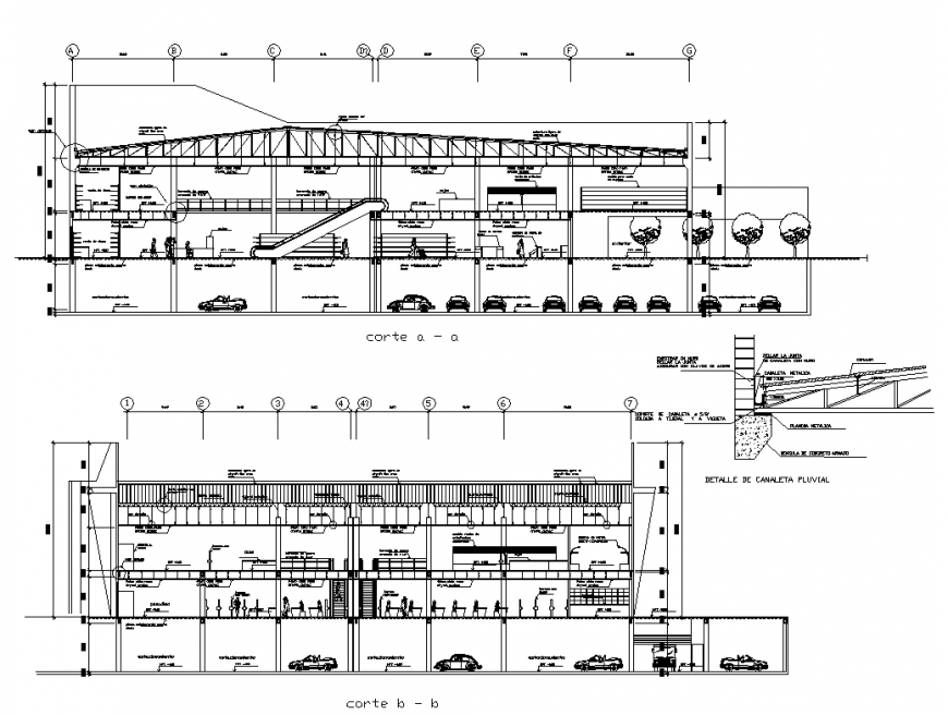 Shopping center building detail sectional layout dwg file