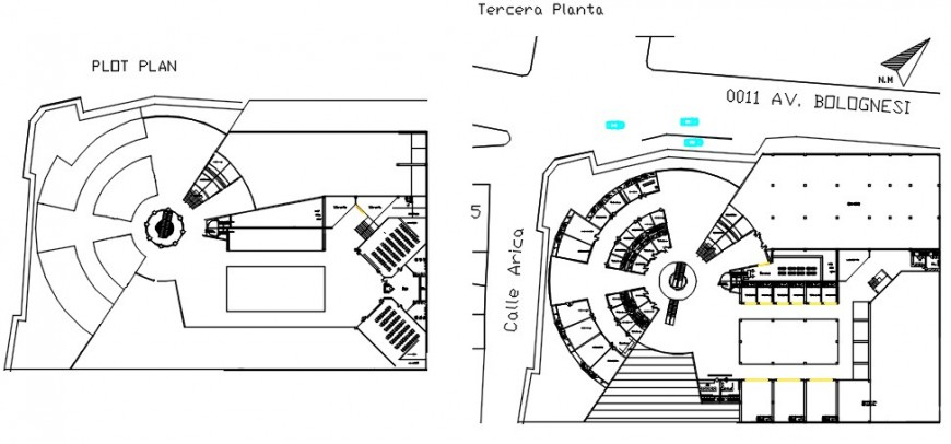 Shopping center distribution plan and terrace plan drawing details dwg file