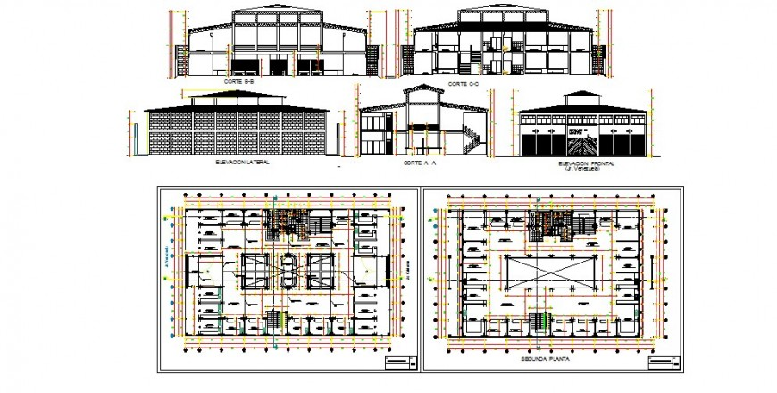 Shopping center elevation, section and two floor plan cad drawing details dwg file
