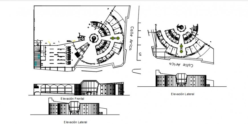 Shopping center multi-level all sided elevation and plan cad drawing details dwg file