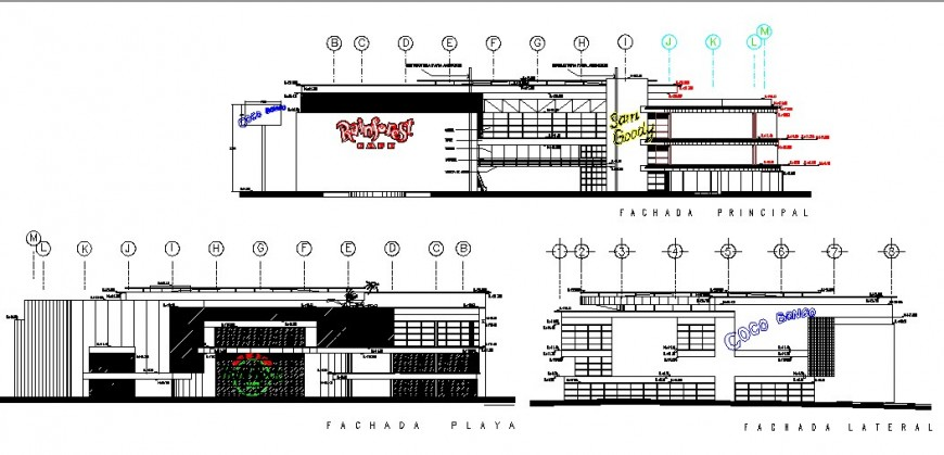 Shopping center multi-story building elevation and section cad drawing details dwg file