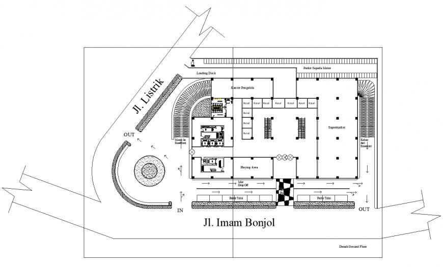 Shopping center plan drawing in dwg file.