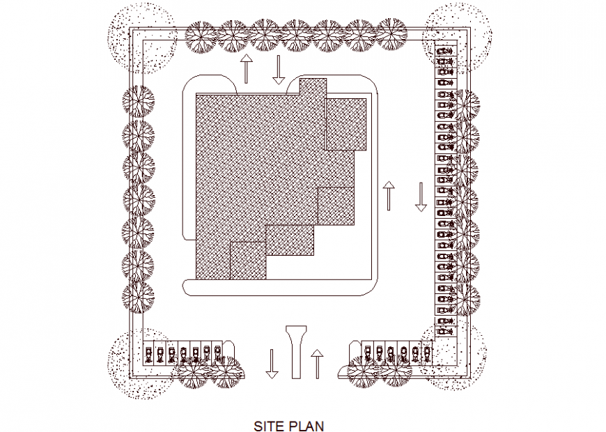 Shopping center roof plan drawing in dwg file.