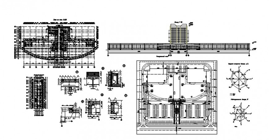 Shopping center with hotel distribution plan and structure details dwg file
