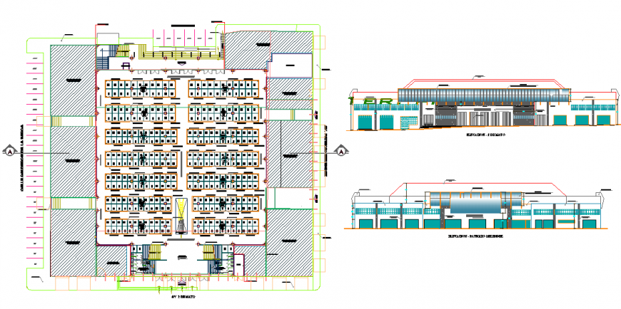 Shopping center With shop Plan & Elevation Detail